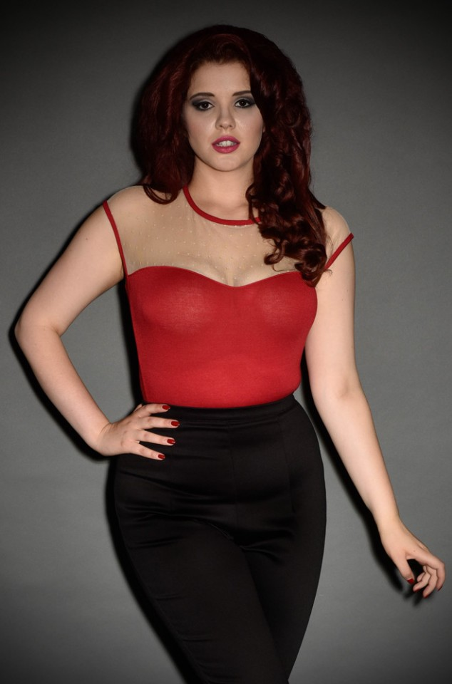 Vintage Miss Fancy Mirabel Top in Red and Cream - perfect for pinups at Deadly is the Female