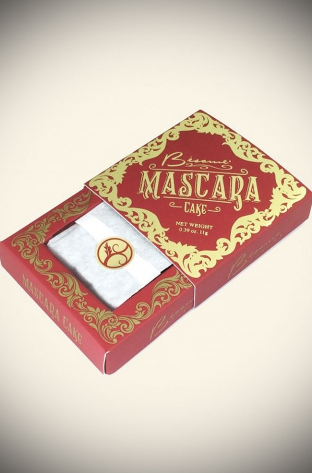 Besame Cosmetics 1920s style Cake Mascara in black with 2 brush set.