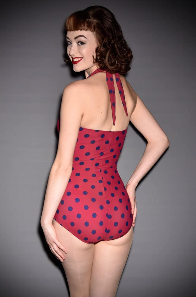 Esther Williams Classic 1950's style swimming costume in burgundy and navy polka dots