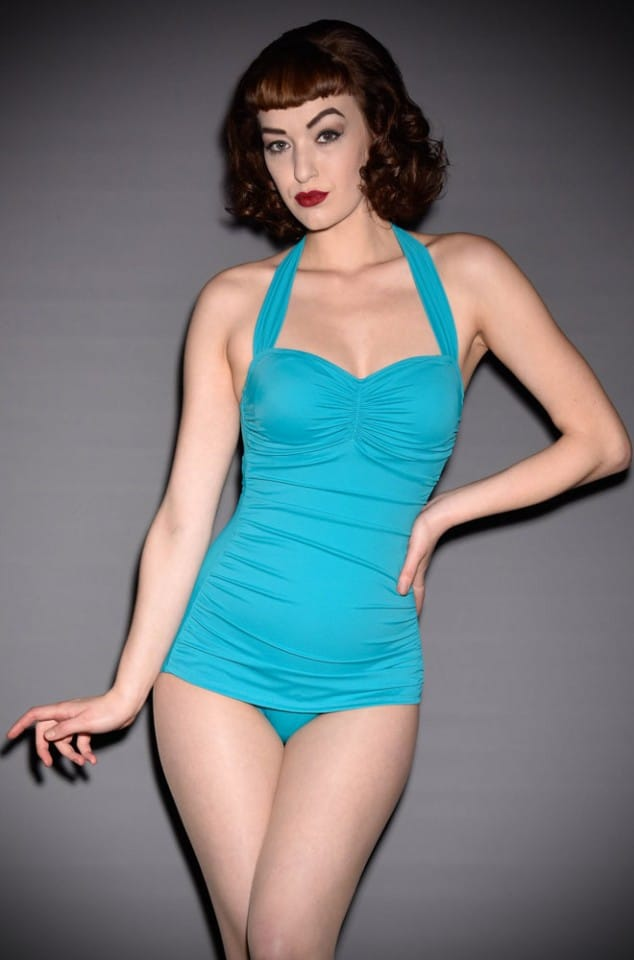 Esther Williams 50's style swimming costume in bright teal blue at UK Stockists Deadly is the Female. We just love these vintage inspired swimsuits!