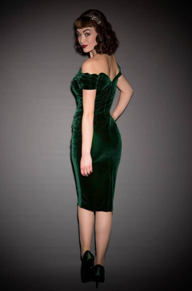 1950's style forest green velvet Bardot off the shoulder Fatale wiggle dress by the Pretty Dress Company