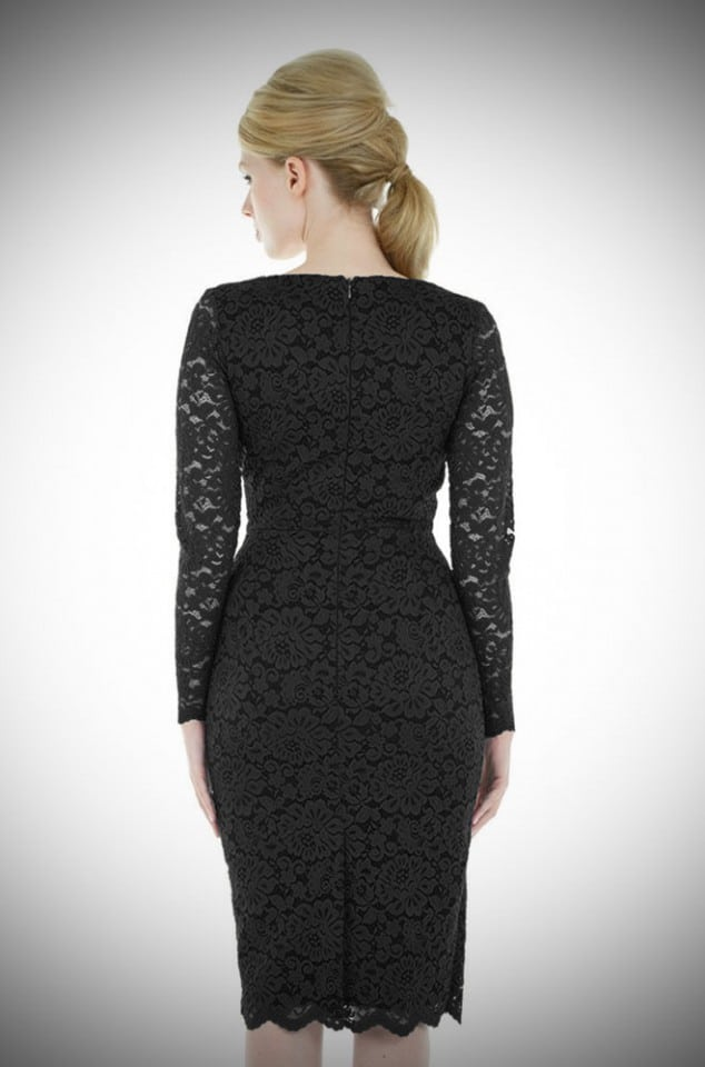 Pretty 50's style black Lace Hourglass dress at Deadly is the Female