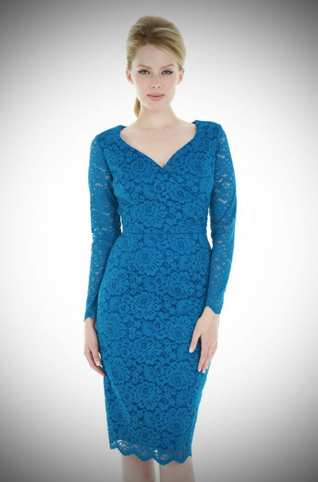 Pretty 50's style teal Lace Hourglass dress at Deadly is the Female