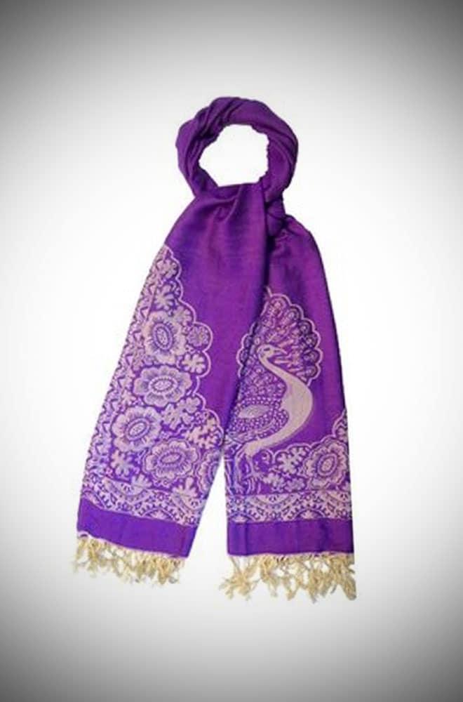 Elegant Peacock Design Lavender Pashmina Style Scarf