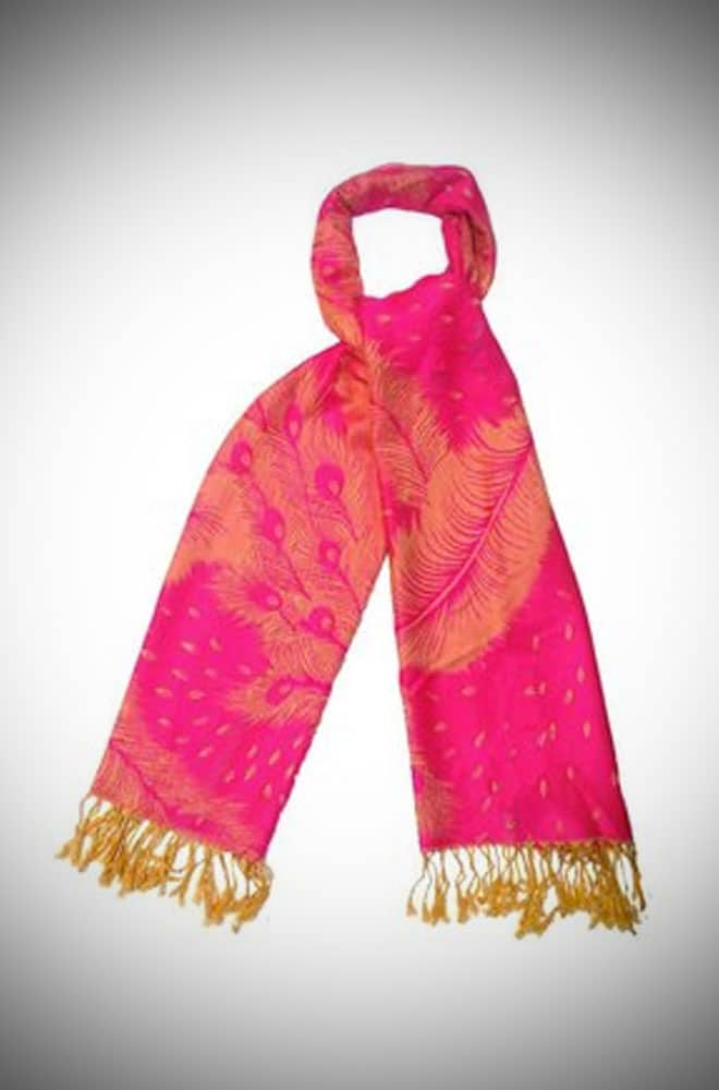 Elegant Peacock Design Electric Pink Pashmina Style Scarf