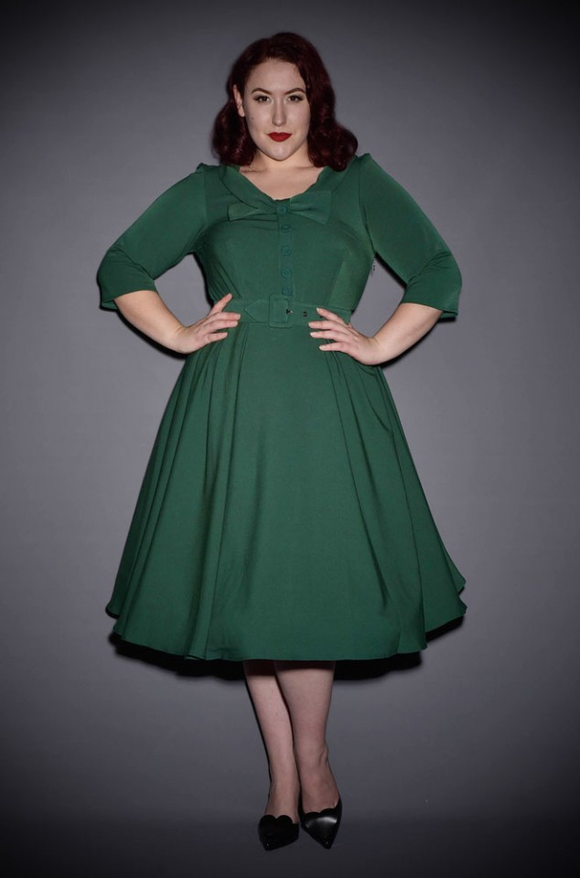 The Geneva Dress is a pretty green vintage style swing dress by Miss Candyfloss at UK stockists, Deadly is the Female.