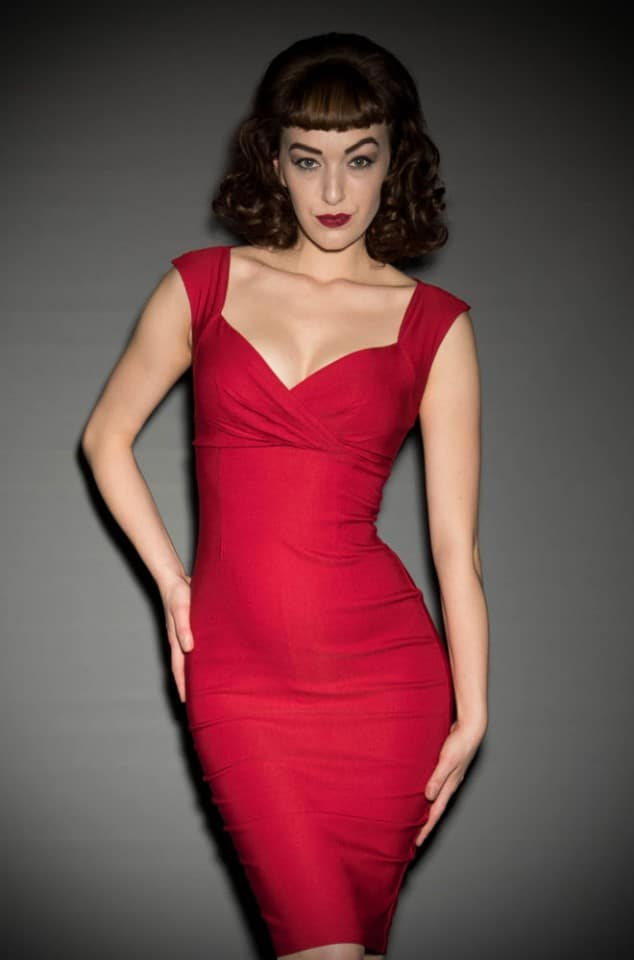 Pinup Couture Erin Wiggle Dress in Red at Deadly is the Female UK stockists of Pinup Girl Clothing
