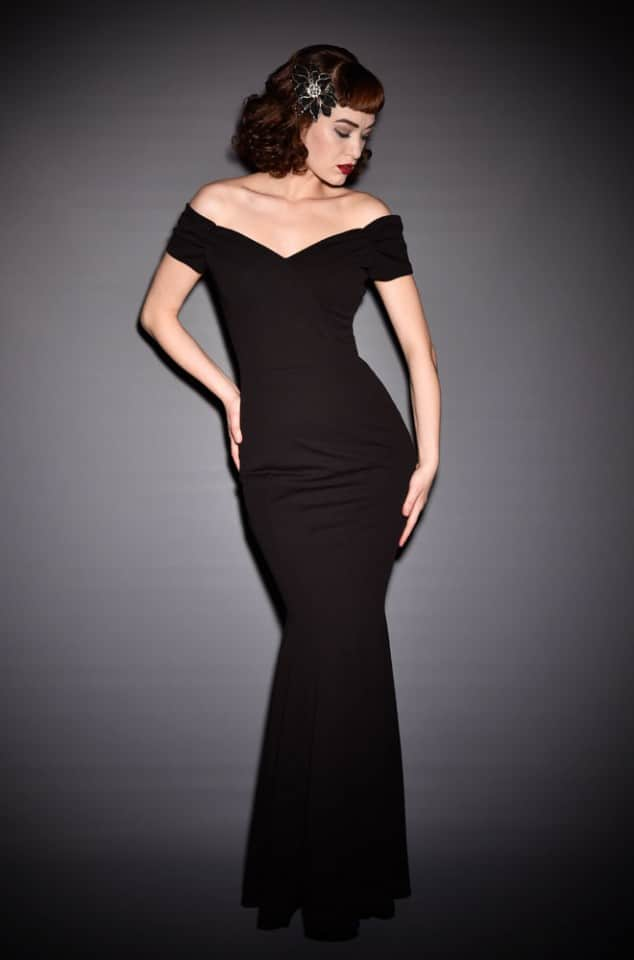 Black Fatale Gown is a 1950's Hollywood Glamour fishtail evening gown at Deadly is the Female by the Pretty Dress Company.