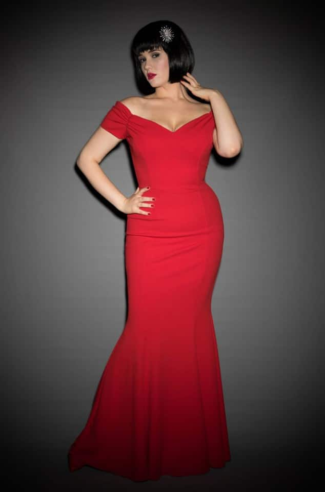 Red Fatale Gown, a 1950's Hollywood Glamour fishtail gown at Deadly is the Female by The Pretty Dress Company