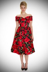 1950's style Red & black Sorrento Rose Fatale Prom dress at Deadly is the Female