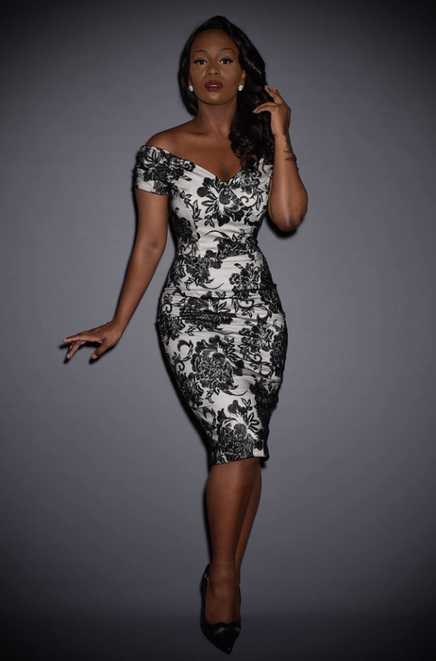 The Fatale Silver & Lace Pencil Dress is a black lace wiggle dress by The Pretty Dress Company at Deadly is the Female. Vintage style at it's best.