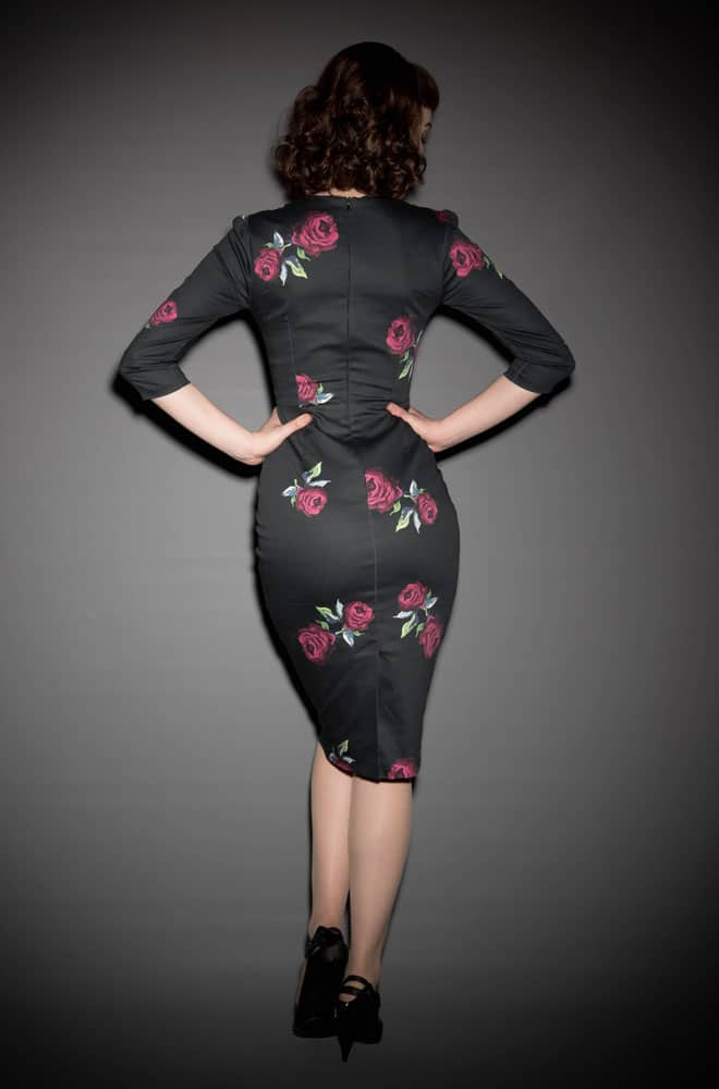 Suki Vinatge Rose Print Wiggle dress by the Pretty Dress Company at Deadly is the Female