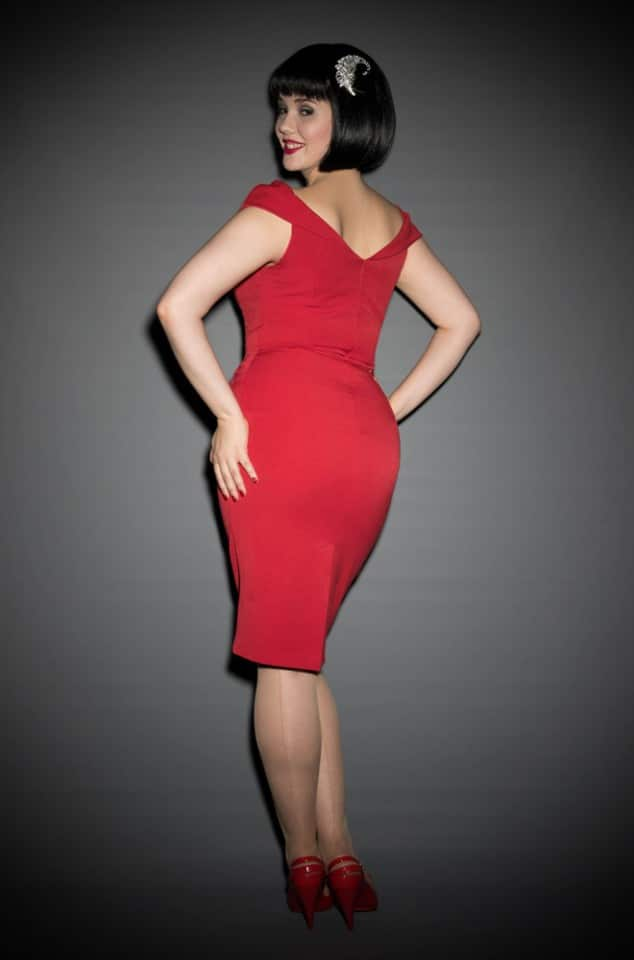 1950's style red Bardot off the shoulder Thea wiggle dress by the Pretty Dress Company