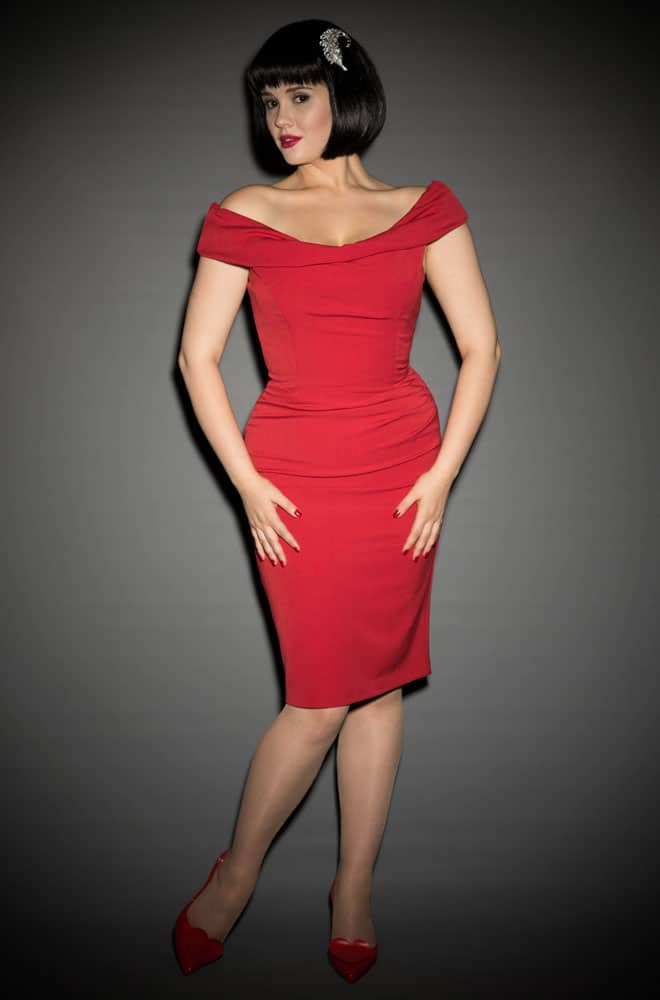 1b6b39fea0 1950 s style red Bardot off the shoulder Thea wiggle dress by the Pretty  Dress Company