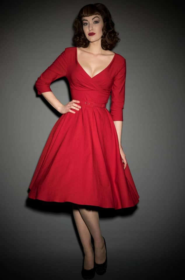 Pinup Girl Clothing Erin Swing Dress in Red at UK Stockists Deadly is the Female