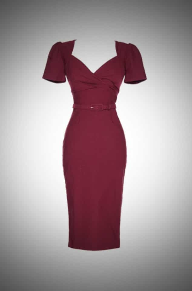 Pinup Couture Erin Wiggle Dress with Short Sleeves in Wine at Deadly is the Female UK stockists of Pinup Girl Clothing