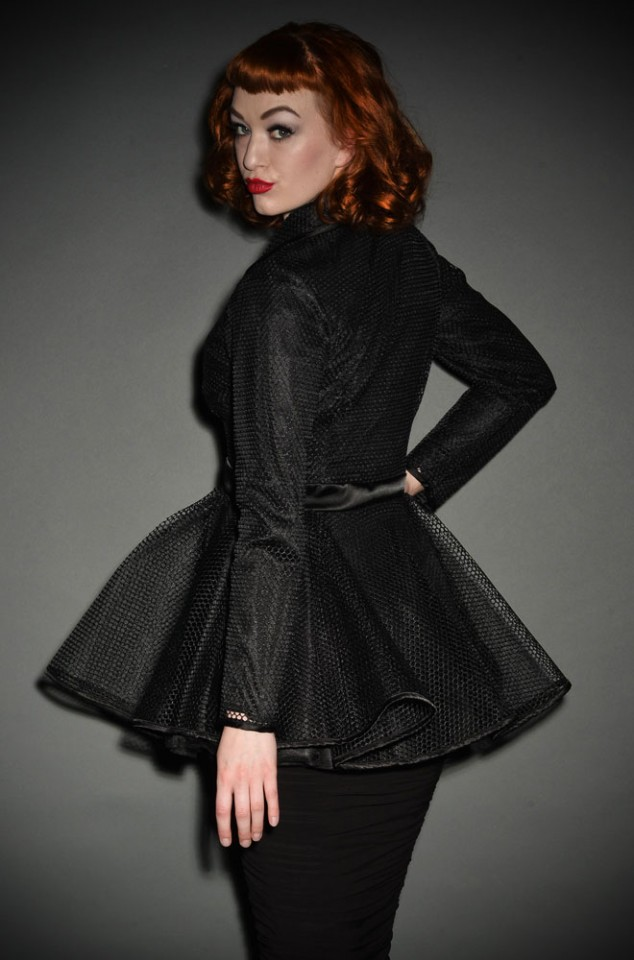 Laura Byrnes Black net Lilith Jacket at Pinup Girl Clothing UK Stockists, Deadly is the Female