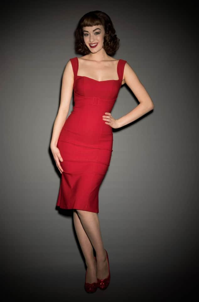 Pinup Girl Clothing Jessica Dress in Red at UK Stockists Deadly is the Female