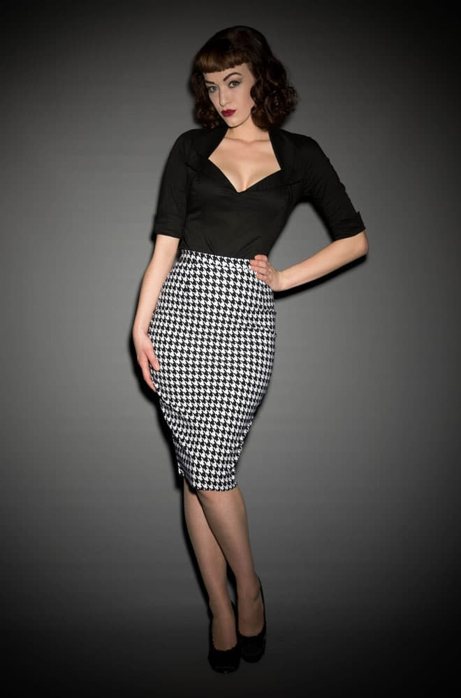 Pinup Girl Dixiefried Perfect Pencil Skirt in Houndstooth at Deadly is the Female
