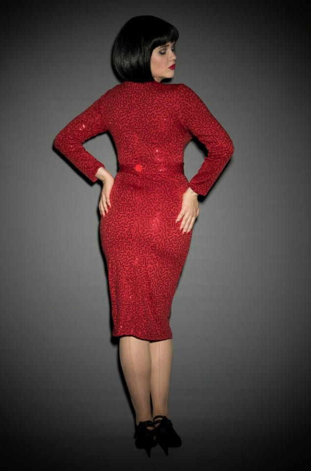 Dazzle vintage style sparkling red wiggle dress at Deadly is the Female