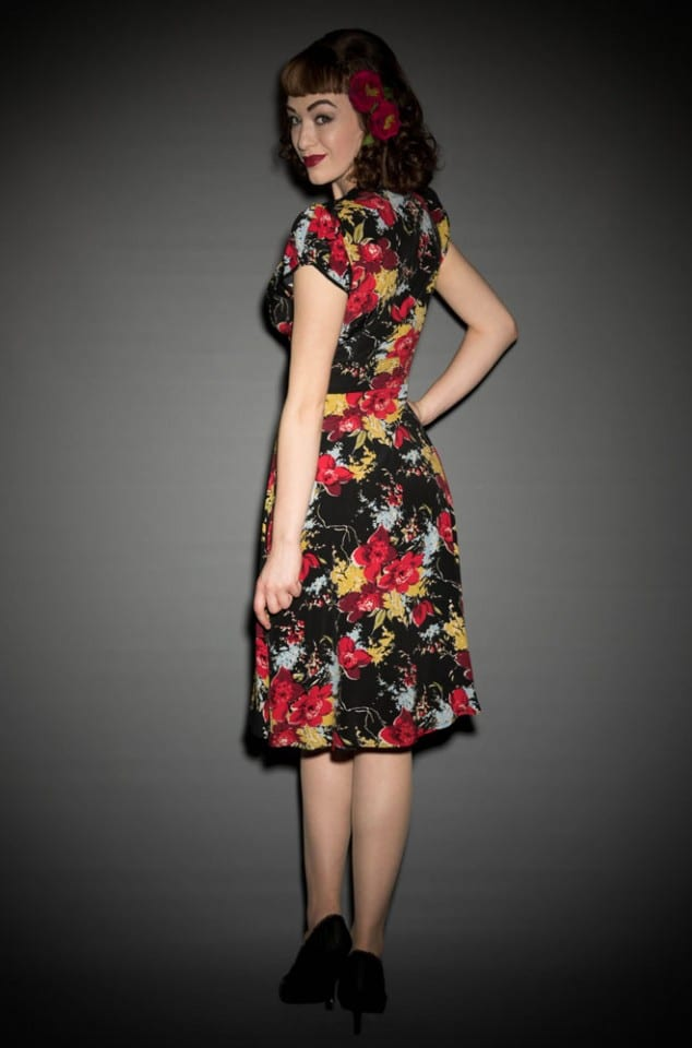 40's forget me not floral Trashy Diva Ashley dress at Deadly is the Female