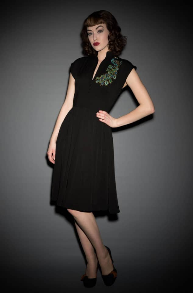 Vintage style sequinned Peacock Maria dress by Trashy Diva at UK stockists Deadly is the Female
