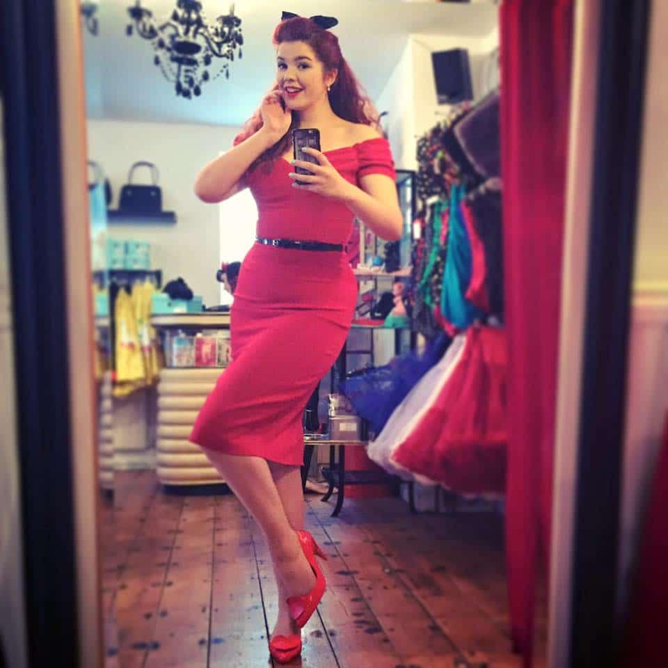 Scarlett looking super cute in the Fatale Dress in Red