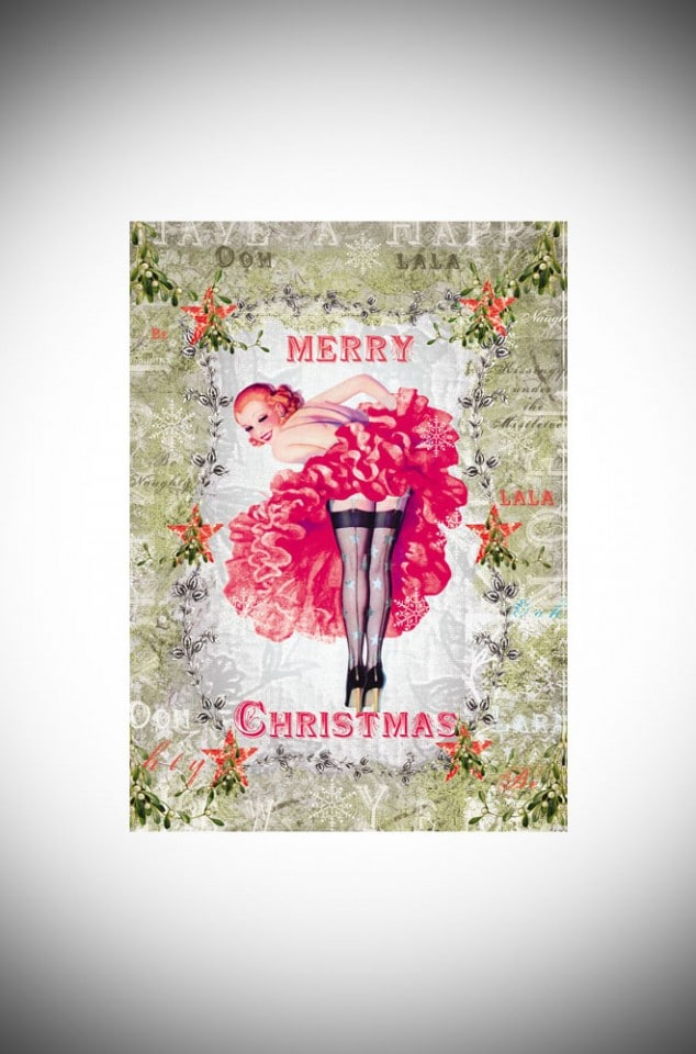 Pack of 5 retro Can- Can pin up Christmas cards