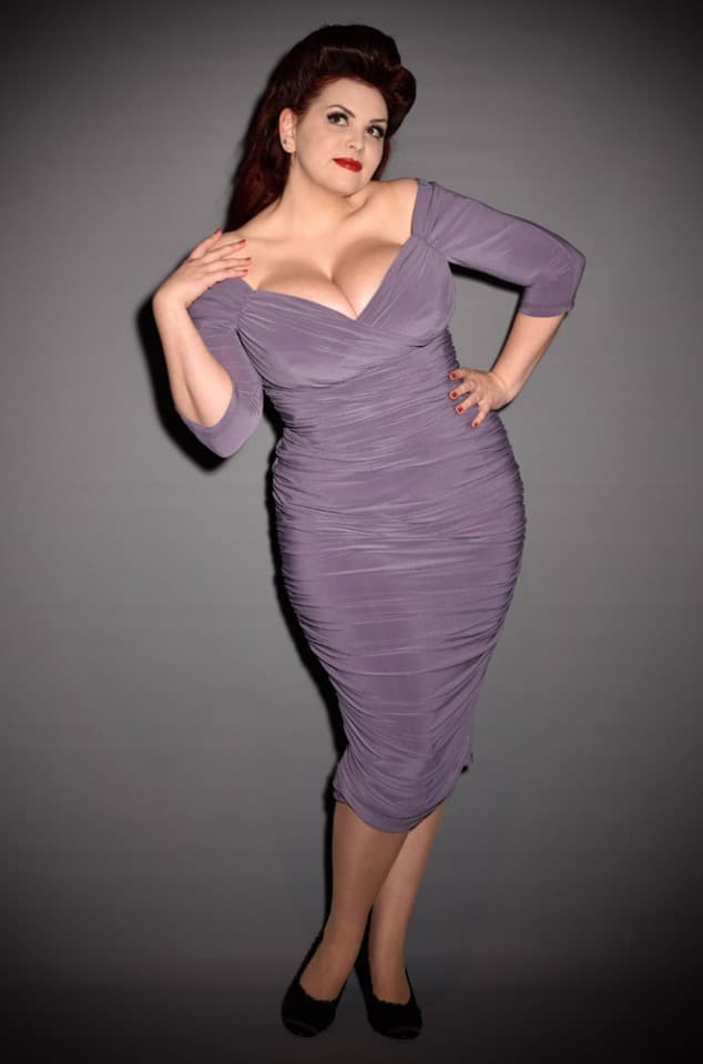 Lilac Monica Dress - the ultimate 50's wiggle dress by Laura Byrnes for Pinup Girl Clothing at UK stockists Deadly is the Female