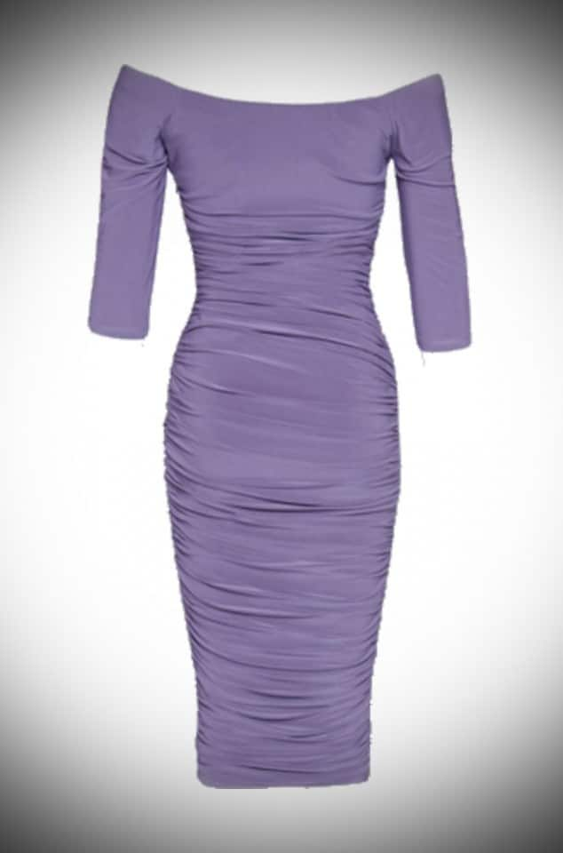 Monica - the ultimate 50's Lilac-violet wiggle dress by Laura Byrnes for Pinup Girl Clothing at UK stockists Deadly is the Female