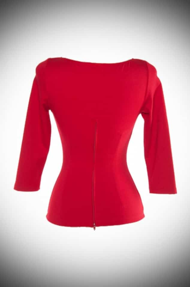 Modern Vintage Red Sabrina Top by Laura Byrnes for Pinup Girl at Deadly is the Female