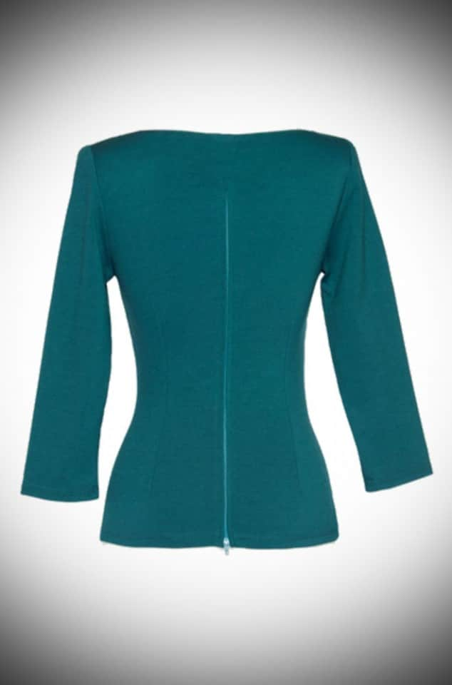 Modern Vintage Teal Sabrina Top by Laura Byrnes for Pinup Girl at Deadly is the Female