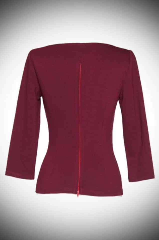 Modern Vintage Wine Sabrina Top by Laura Byrnes for Pinup Girl at Deadly is the Female