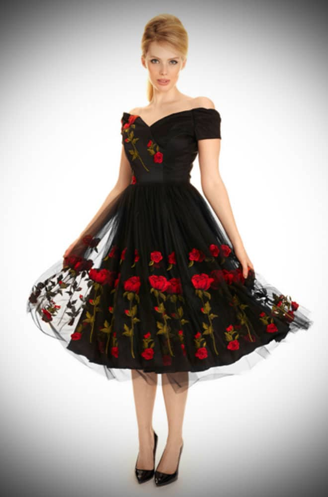 Vintage couture style Embroidered Rose Tulle Fatale Prom dress by the Pretty Dress Company inspired by Dolce and Gabbana