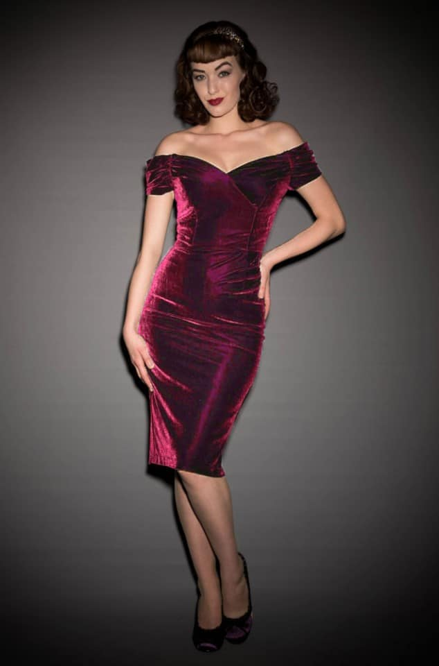 1950's style magenta velvet Bardot off the shoulder Fatale wiggle dress by the Pretty Dress Company