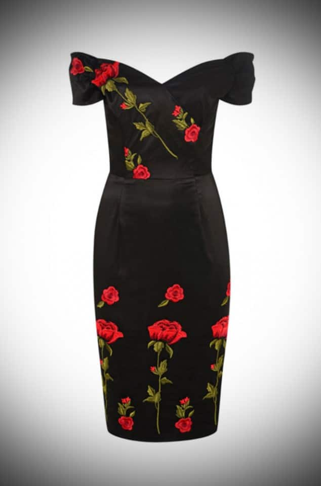 Vintage couture style Embroidered Rose Fatale Pencil dress by the Pretty Dress Company inspired by Dolce and Gabbana