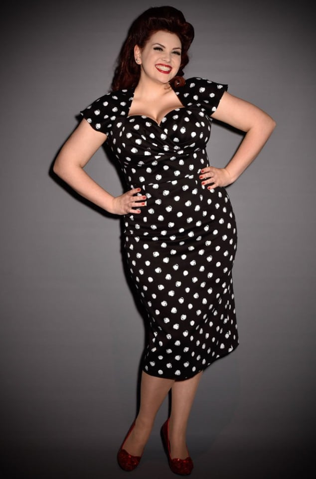 Black & white polka dot wiggle dress by Stop Staring UK stockists Deadly is the Female
