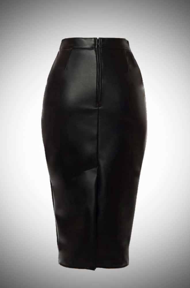 Deadly Dames Deadly Curves Skirt in black faux leather for femme fatale pinups at Deadly is the Female