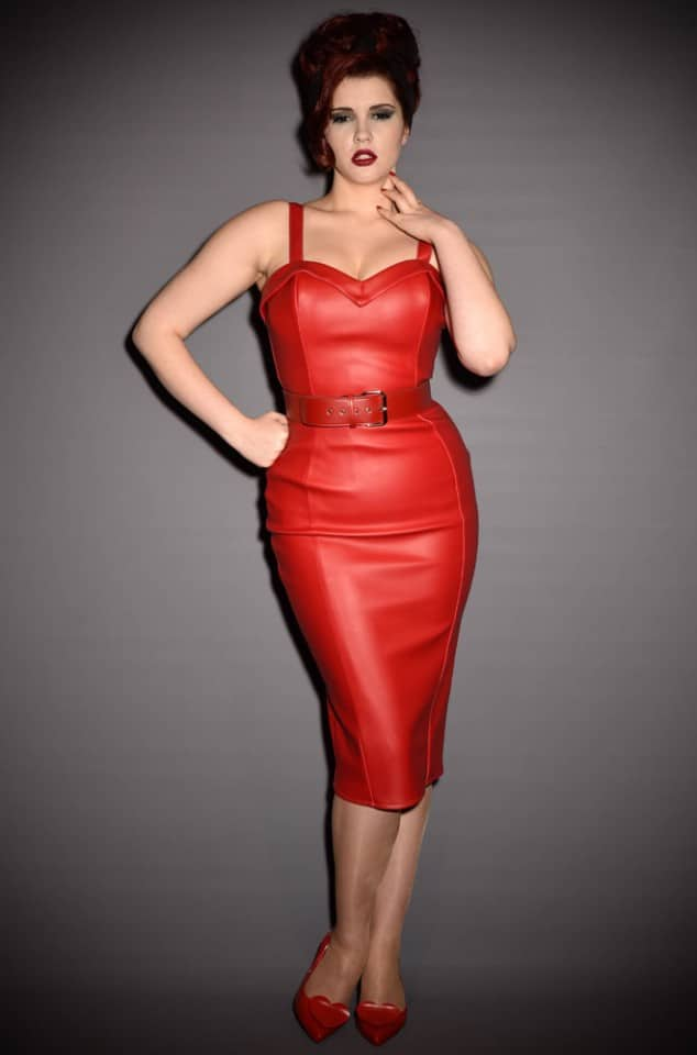 Micheline Pitt Deadly Dames Down Town Dames Dress in Red Faux Leather for PInup Girl Clothing at UK Stockists Deadly is the Female