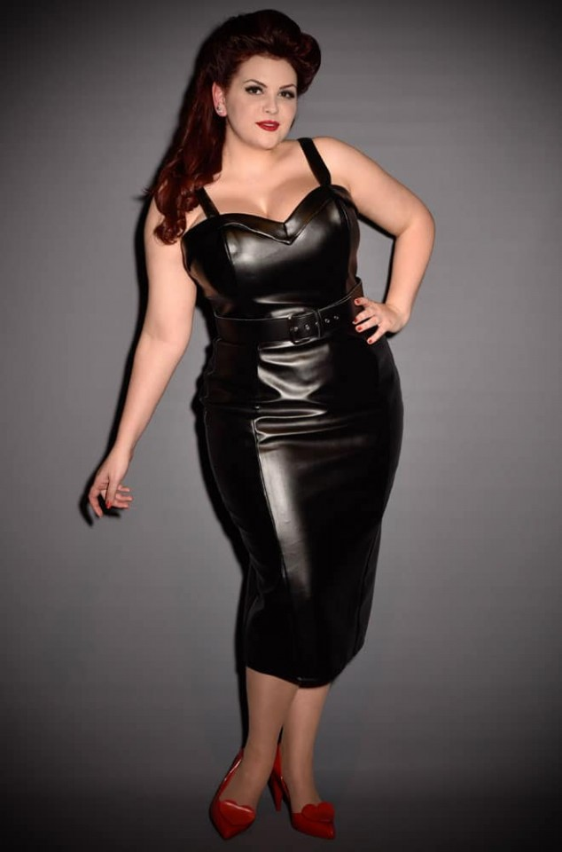 Micheline Pitt Deadly Dames Down Town Dames Dress in Black Faux Leather for PInup Girl Clothing at UK Stockists Deadly is the Female