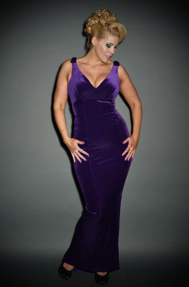 Luxury vintage style Purple Velvet Gilda Gown by Laura Byrnes at Pinup Girl Clothing at official Uk Stockists, Deadly is the Female
