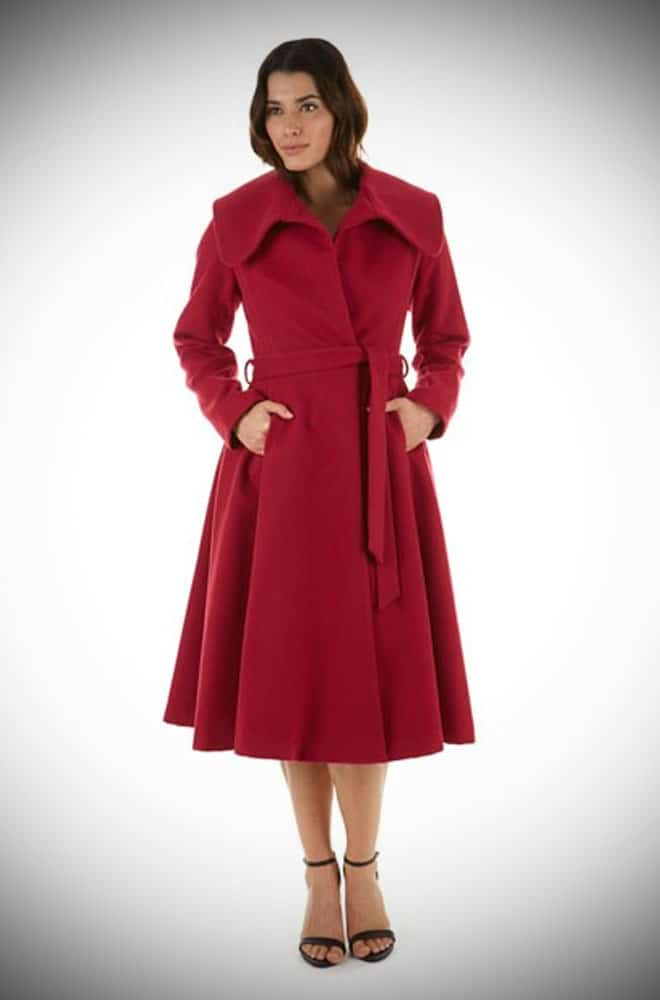 Ingrid - 1950's style raspberry Swing Coat by the Pretty Dress Company at Deadly is the Female