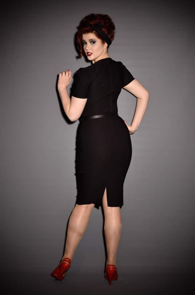 Pinup Couture Erin Wiggle Dress with Short Sleeves in Black at Deadly is the Female UK stockists of Pinup Girl Clothing