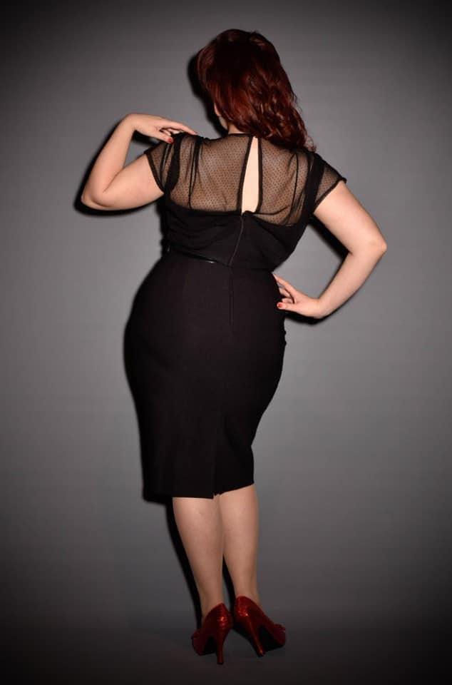 Twilight Film Noir 40s pinup little black wiggle dress by Stop Staring UK stockists - Deadly is the Female
