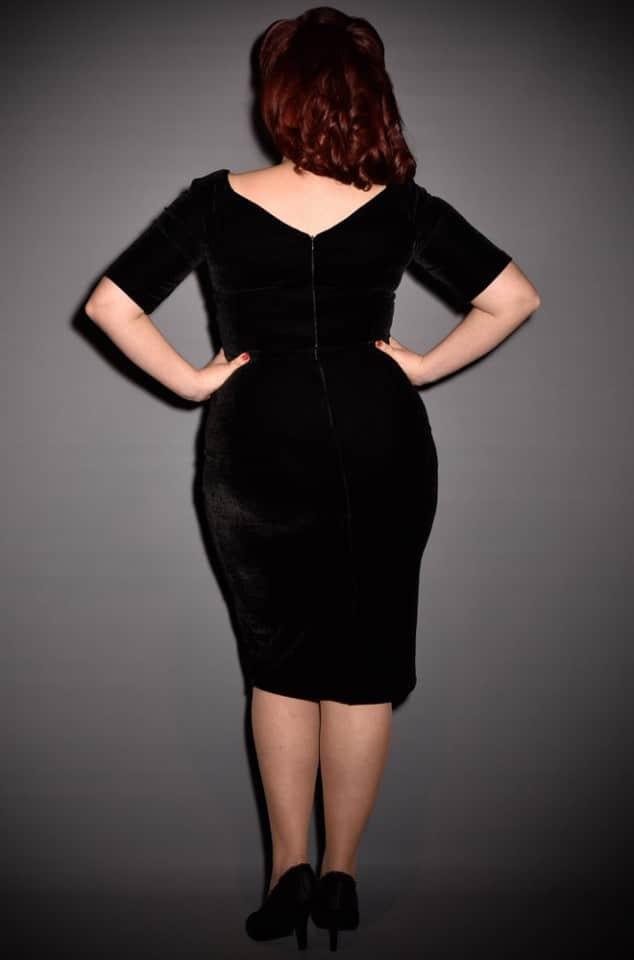 1950's style black velvet Bardot off the shoulder Monte Carlo wiggle dress by the Pretty Dress Company