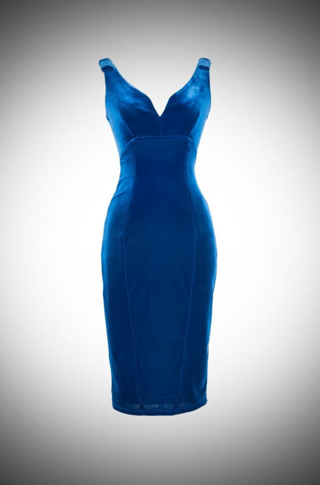 Laura Byrnes California Royal Blue Velvet Gilda Dress at UK Stockists Deadly is the Female. Perfect clothing for Pinup Girls