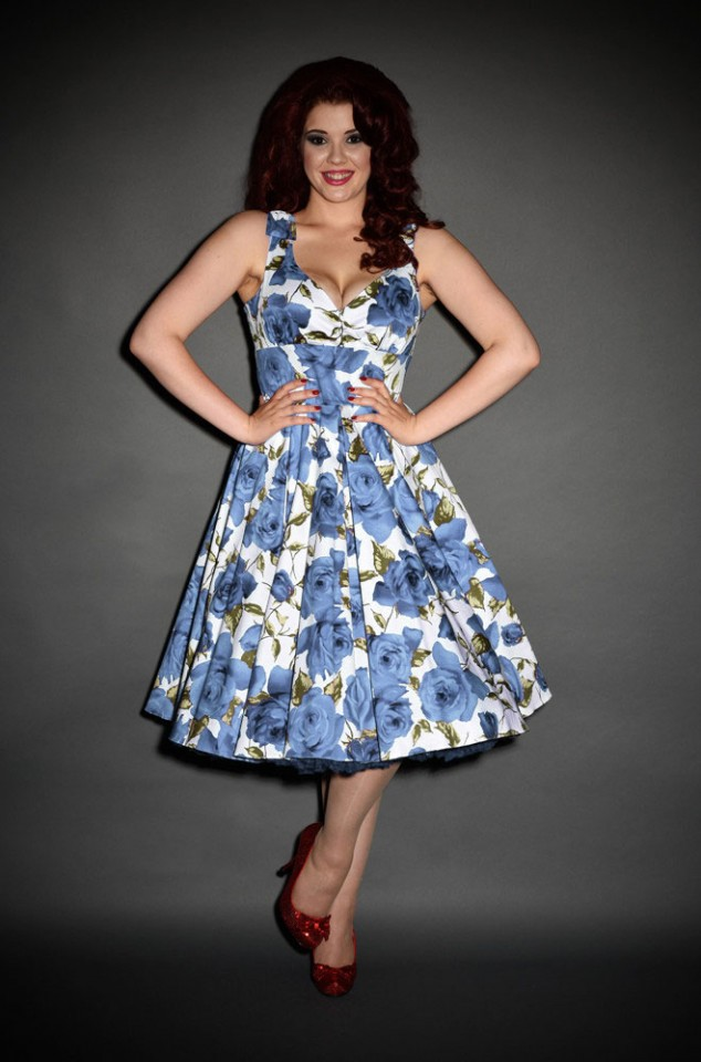 Ascot 1950s style Blue Sorrento Rose Swing dress by The Pretty Dress Company - perfect for pinup girls and vintage lovers
