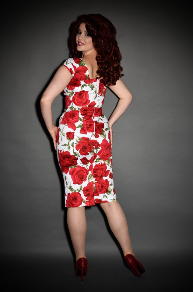 Romantic 1950's style Red Sorrento Rose Cara wiggle dress by the pretty dress company at Deadly is the Female