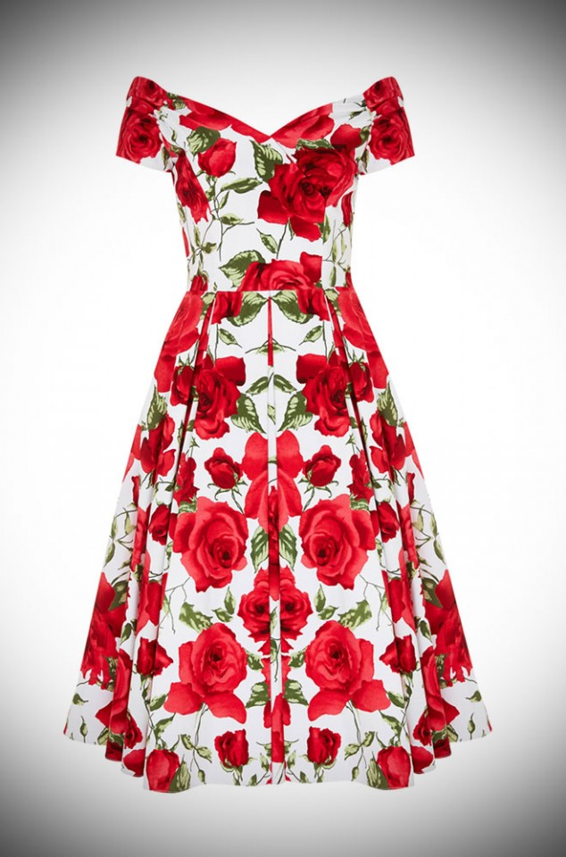 1950's style Red & white Sorrento Rose Fatale Prom dress at Deadly is the Female