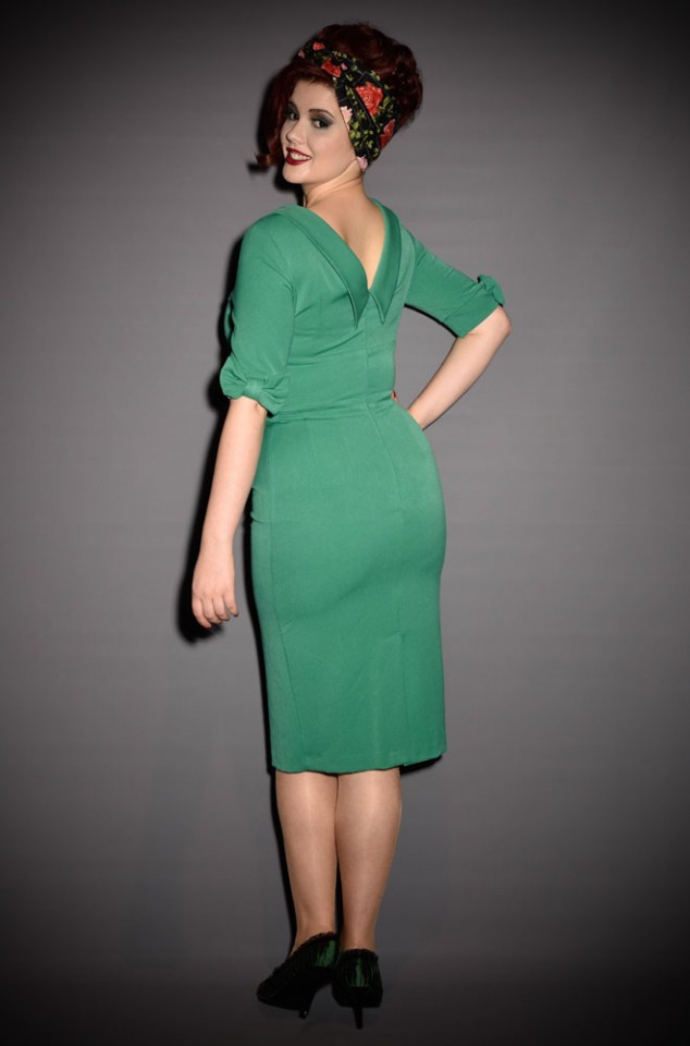 Hollywood Emerald Green Wiggle dress in Audrey Hepburn style by the Pretty Dress Company at Deadly is the Female
